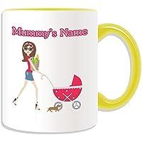 Regalo personalizzato–Fashion mamma con passeggino, tazza, motivo: Happy Mothers/festa del