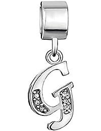Uniqueen Dangle A-Z Alphabet Initials Letter CZ Crystal Charm Beads fits chamilia & Troll Bracelets
