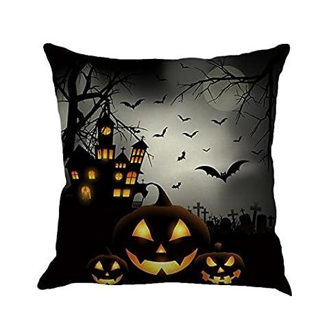 Happy Halloween Housse de coussin, 1pièce Omiky® Lin Couvre-lit Taie d'oreiller d'oreiller Maison Canapé pour chambre à coucher Bureau Café de voiture Décor, Pumpkins Bats and Witch Castle, 45*45cm/18*18