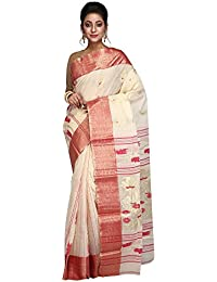 Hawai Cotton Handloom Traditional Red and White Saree