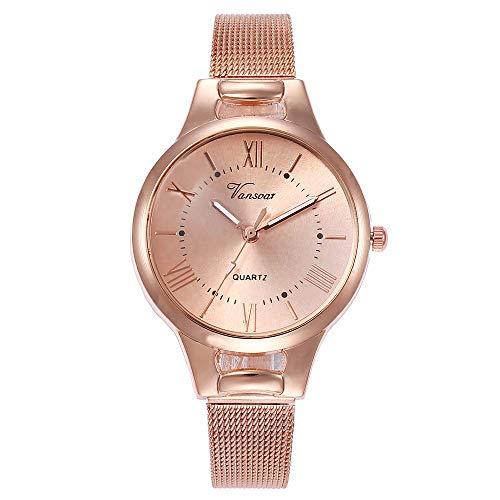 Suitray Metallarmband Armbanduhr Damen,Elegant Frauen Analoge Quarzuhr Beiläufig Uhren Geschenk,Runde Zifferblattgehäuse Edalstahlband Uhren