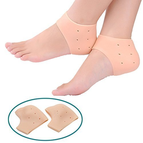 Arzet Unisex Vented Moisturizing Silicone Gel Heel Socks for Swelling, Pain Relief, Foot Care Ankle Support Pad (Skin Colour) - Set of 1 Pair