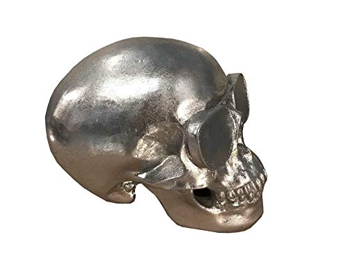 happyDko Crâne chromé & Lunette de Motard, H 15 cm