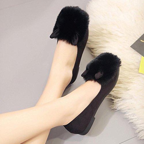 Longra Femmes Ronde Pied Fourrure Pointe Fausse Fourrure Fourrure Oreilles Chaussures Plates Chaussures Nues Noir