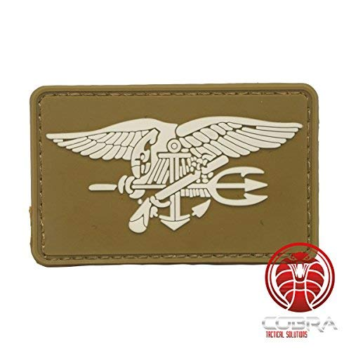 96e9d1ee0b1 Cobra Tactical Solutions US Marina Navy Seals PVC Insegne Morale Toppa Patch  Marrone Hook Loop Airsoft Paintball