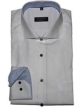 ETERNA Herrenhemd Comfort Fit, weiß, Patch blau kariert, Haifisch