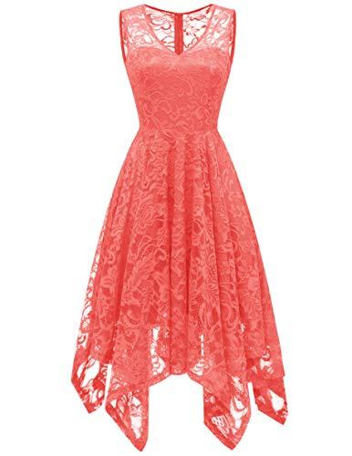 t Spitzenkleid V-Ausschnitt Unregelmässig Vokuhila Kleid Festlich Cocktail Abendkleid Coral S ()