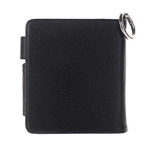 JERFER Luxus für iQOS elektronische Zigaretten-Kit Leder Herren Brieftasche Case Pouch Bag + Schlüsselanhänger (Schwarz)