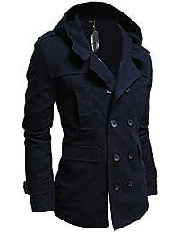 Zicac Vêtements Manteau À Capuche Slim Doublure Parka Veste Jacket Deux Bouton Blazer Homme Pour Automne Hiver