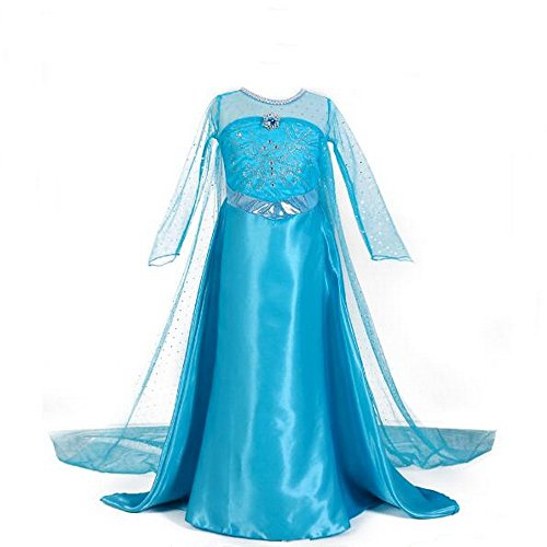 Little Girls Snow Queen ELSA Party Outfit Fancy Kleid Kostüm Prinzessin Cosplay - Sky Blau, blau (Baby Elsa Kostüm)