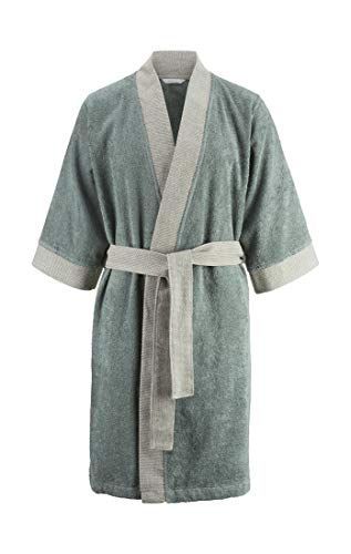 hessnatur Kimono-Bademantel aus Bio-Baumwolle ozeangrün M