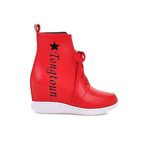 AllhqFashion Damen Gemischte Farbe Hoher Absatz Rund Zehe Schnüren Stiefel, Rot, 40