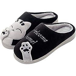 SAGUARO Otoño Invierno Zapatillas Interior Casa Caliente Slippers Suave Algodón Zapatilla Mujer Hombres Animados Pareja Zapatos Calzado, 39/40 EU=40/41 CN Negro