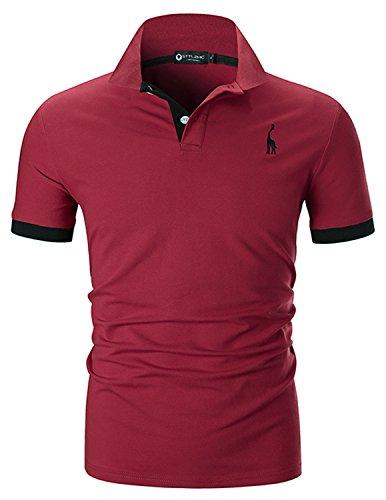 STTLZMC Herren Poloshirt Kurzarm Stickerei Polohemd Golf T-Shirt S-XXL,Rot 1,Small