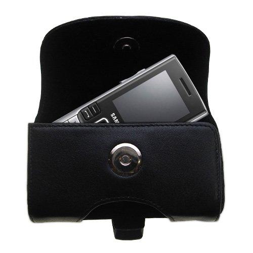 Das schwarze Leder Tasche für Samsung SGH-M200 ist eine Tragetasche withl Gürtelschlaufe und abnehmbarer Gürtelclip