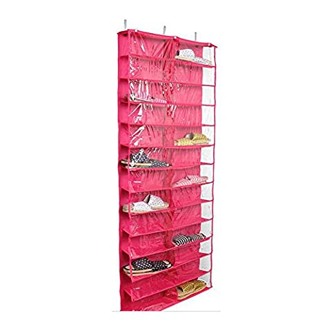 Midmade Heavy Duty 26 Pocket Over Door Hanging Shoe Organiser Reinforced Clear PVC Pockets Shoe Storage