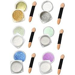 uñas espejo kit Sannysis 6 colores polvo de espejo para uñas