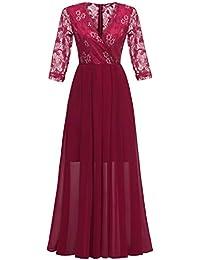3c138ee7a Molly Moda Vestido de Fiesta para Mujer Cruzado Largo con Ribete de Encaje