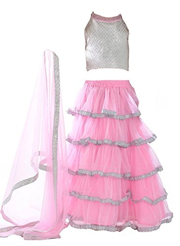 Clickedia Girl\'S Dress (Girl _Pink Lehenga_Pink Silver_Free Size)