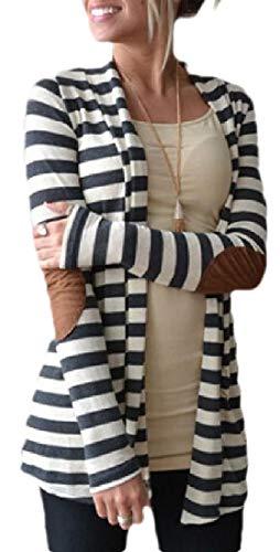 BingSai Women Striped Open Front Elbow Patchs Sweater Thicken Cardigan Shawl Collar Coat Jacket Grey L -