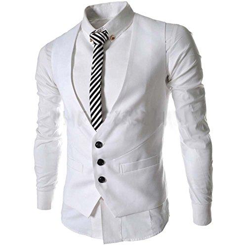 Liqy - Gilet - Homme noir noir M Blanc