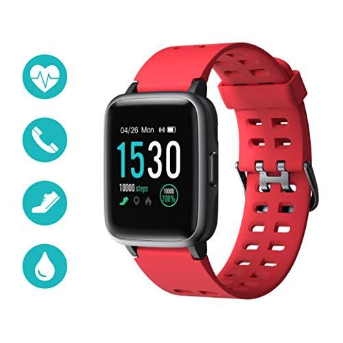 Huyeta Smart Watch mit Pulsmesser Sport Uhr Smart Uhr Wasserdicht Fitness Tracker Aktivitätstracker Pulsuhren mit Kalorienzähler Schlafmonitor,Kamera,SMS für Damen Herren für IOS Android (Rot)