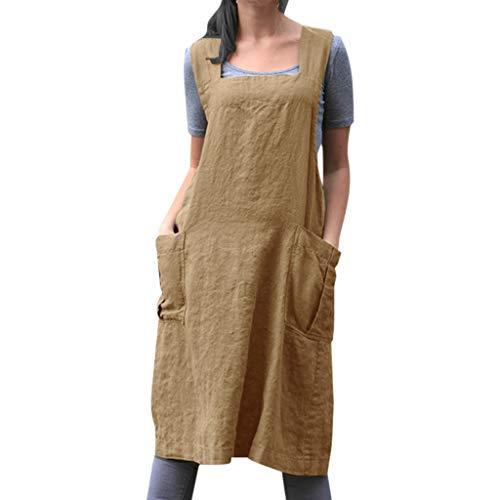 mwolle Kleid Tunika Kleid Lässige Schürze Kleid Mit Taschen Japanischen Kleid Stil Pinafore Kleid Damen 1950er Vintage Cocktailkleid Rockabilly Retro Schwingen Kleid Faltenrock ()