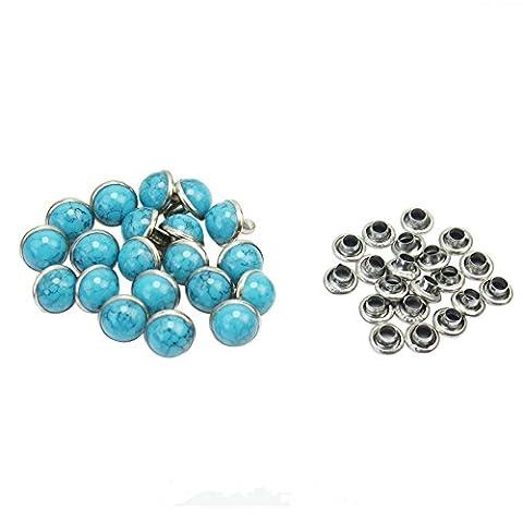 Attache Pour Vetement - Merssavo 20 pieces 7mm Rivets Clous Turquoise