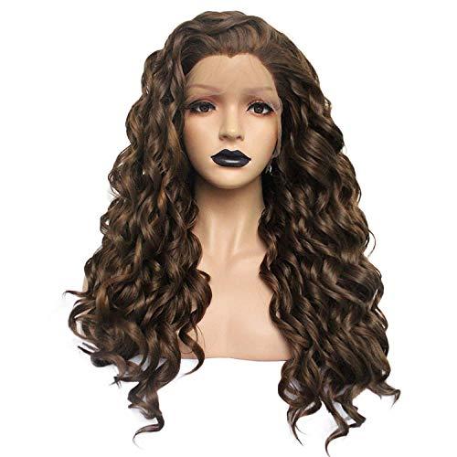 Perücken Kostüm Lockenwicklern Mit - Perücke, Perücken und Haarteile, für Erwachsene, schmale Faserfront, Spitze, Braun, kleine Locken