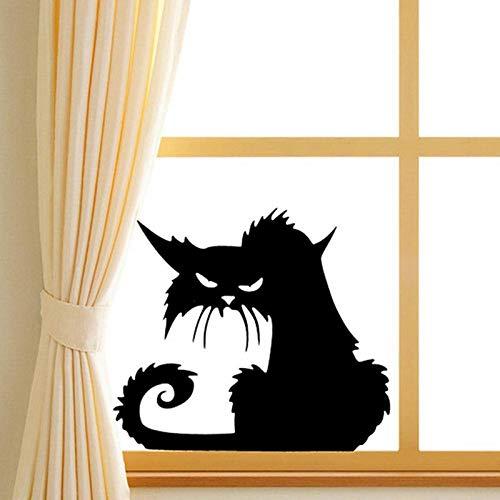ShopSquare64 Kreative Halloween Schwarz Katze PVC Wasserdichte Wandaufkleber Abnehmbare Vinyl Kunstwand Dekoration Aufkleber Umweltschutz Halloween Wandaufkleber Fenster Dekoration Aufkleber Dekor