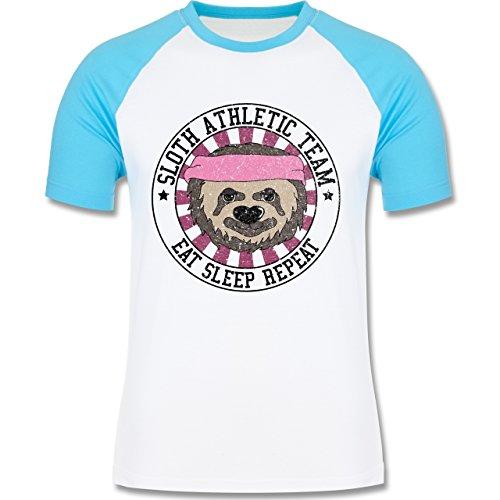 Shirtracer Statement Shirts - Sloth Athletic Team Faultier - Herren Baseball Shirt Weiß/Türkis