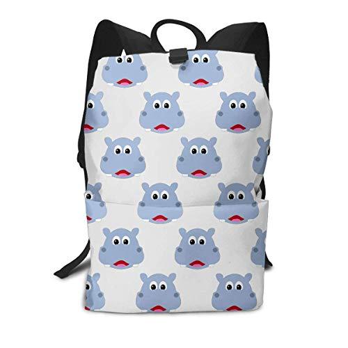 Niedlicher Hippo Face Rucksack Middle für Kinder, Jugendliche, Schulreisetasche