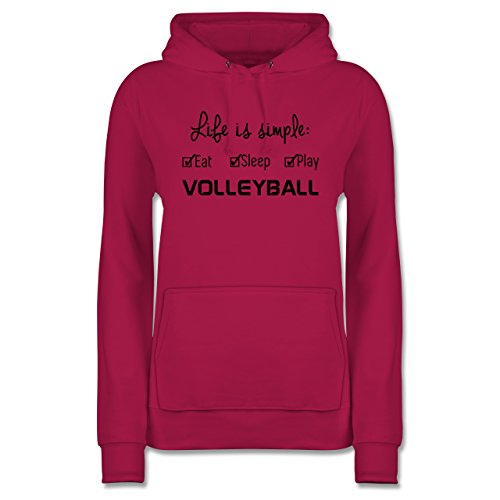 8eb9ccc15b14 Shirtracer Volleyball - Life is Simple Volleyball - M - Fuchsia - JH001F -  Damen Hoodie
