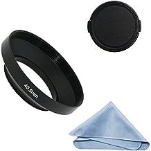 sioti cámara gran angular de metal parasol de objetivo + gamuza de limpieza + tapa de objetivo para Nikon Canon Sony Fuji Pentax Sumsung Leica lente de rosca estándar