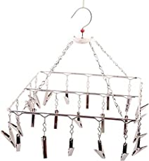 Rockfield Stainless Steel Square Cloth Hanger and Clips - 23 Clips