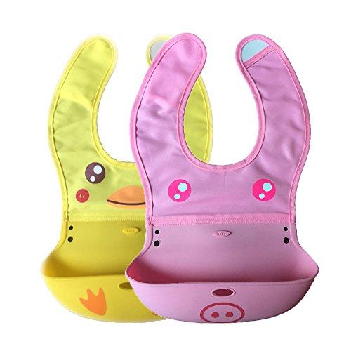 Animal Style INCHANT la NUEVA historieta de silicona suave baberos Conjunto, rueda para arriba un babero para almacenamiento compacto! Velcro fuerte para simple y apagar Para encajar su cuello bebés, apto para lavavajillas! bebés de los niños libres de BP