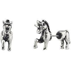 Accesorios Lux pulido plateado unicornio Animal falso calibre delantera y trasera pendientes