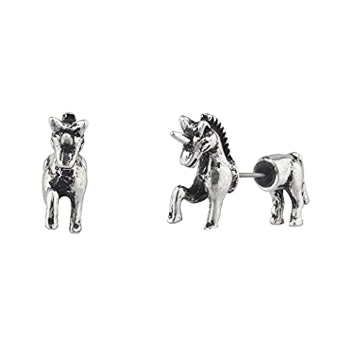 Lux Accessories Burnished Silver Unicorn Animal Fake Gauge Front Back Earring