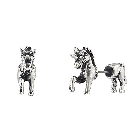 Lux Accessories Ohrring mit Vorder- und Rückseite, poliert, Silber, Einhorn