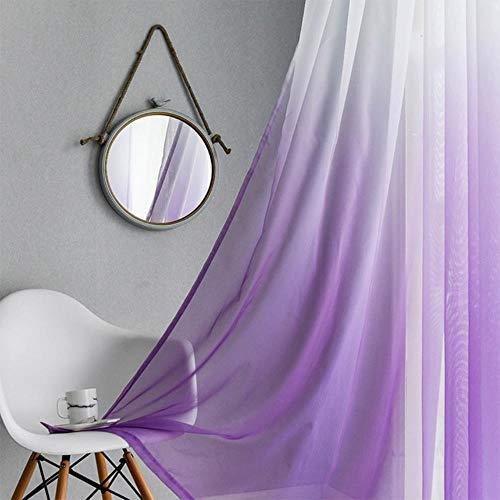 PENVEAT Farbverlauf gedruckt Tüll transparente Vorhänge Wohnzimmer Schlafzimmer Küche Home Gardinen Dekor Tüll am Fenster, lila, Custom Made, 3.Rod Tasche -