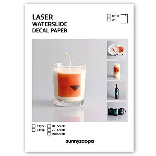 Sunnyscopa - Carta per decalcomanie laser, formato A4 20 sheets bianco