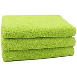 """ZOLLNER® Juego de 3 toallas de ducha / toallas de baño / toallas de cuerpo, calidad premium 520 g/m², 70x140 cm, algodón 100%, verde, en otros colores, del especialista textil, serie """"Star-Elba"""""""
