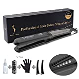 Steam Hair Straighteners, LONGKO 2 in 1 Professional Curling Iron with Ceramic Plate