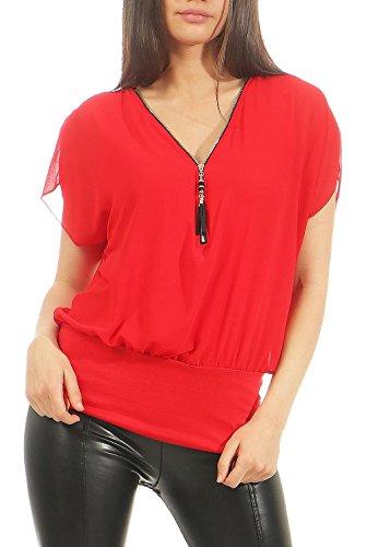 Malito Mujer Blusa Corta Bate Mirar Túnica Colores Lisos Camiseta 6298 (Rojo)