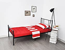 EGGREE 3FT Single Bed Metal Frame with Headboard, Economy Solid Bedstead Bed Base for Adult Child Students- Black,fit 190 x 90 cm mattress
