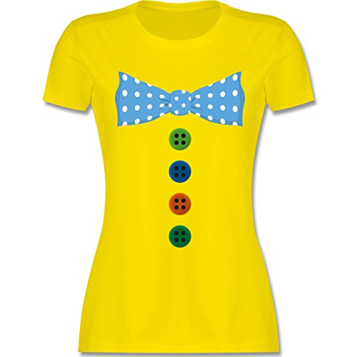Karneval & Fasching - Clown Kostüm Blaue Fliege - M - Lemon Gelb - L191 - Damen T-Shirt Rundhals