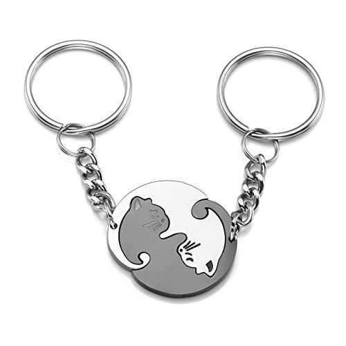 Zysta portachiavi personalizzabile per coppia in acciaio inox con pendente puzzle gatto nero e bianco lo yin e lo yang, portachiavi dell'amore o amicizia, regalo per lui/lei