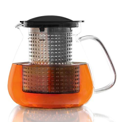 Finum TEA CONTROL Teekanne aus Glas mit patentierter Brühkontrolle - Teebereiter mit Dauerfilter - Teezubereiter 1,0 Liter - Glaskanne für Tee, Schwarz - Copolyester-glas