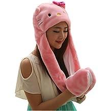 Meta-U lungo finta pelliccia di animale cappello cappuccio//Sciarpa/Guanti, tutto in uno