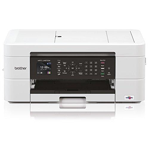 Brother MFCJ497DW Stampante Multifunzione Inkjet a Colori A4 con Connettività per Dispositivi Mobili e Wireless, Alimentatore Automatico e Display LCD da 4.5 cm 6000 x 1200 dpi, Bianco